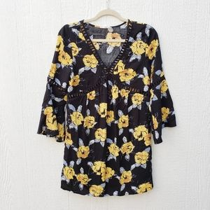 Entro Black Yellow Floral Babydoll Crochet Dress